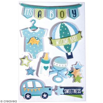 Stickers 3D Bébé garçon - 10 autocollants