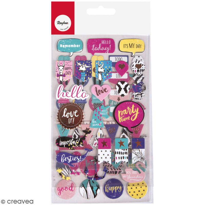 Stickers fantaisie papier cartonné - Summer mix - 71 pcs - Photo n°1