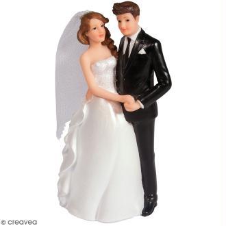 Figurine mariés en polyrésine pour décoration de mariage - 7,5 x 14 cm