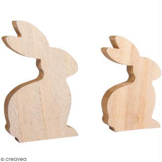 Formes en bois - Lapin - 10 à 12  cm - 2 pcs