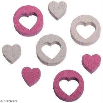 Miniatures en bois - 2 couleurs - Coeurs et coeurs ajourés - 2 cm - 24 pcs