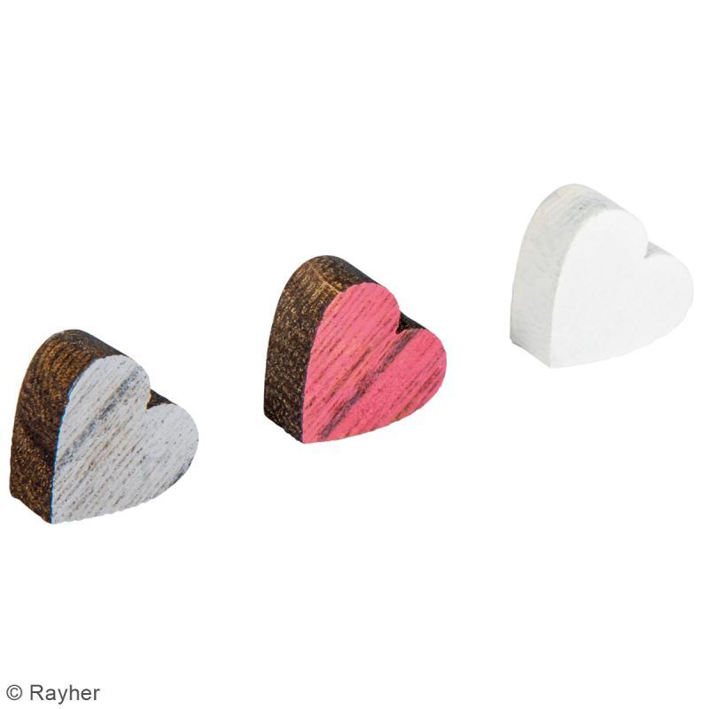 Miniatures en bois - 3 couleurs - Coeur - 1,8 cm - 12 pcs - Photo n°2
