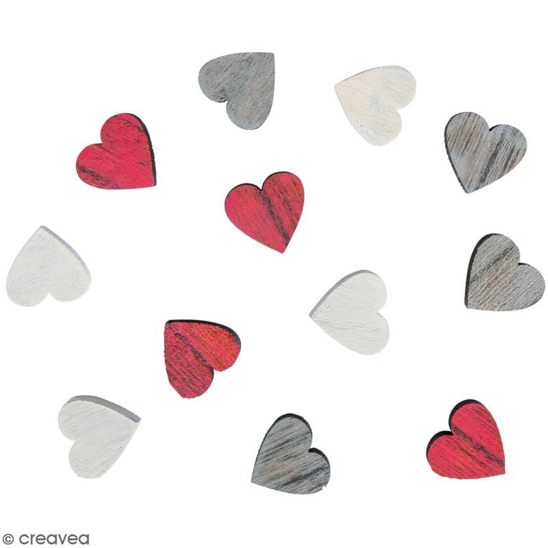 Miniatures en bois - 3 couleurs - Coeur - 1,8 cm - 12 pcs - Photo n°1