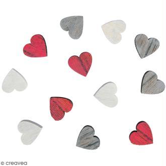 Miniatures en bois - 3 couleurs - Coeur - 1,8 cm - 12 pcs
