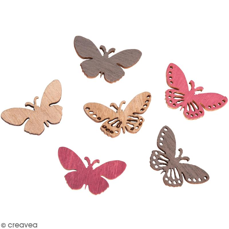 Miniatures en bois - 3 couleurs - Papillons dentelle - 2,5 x 1,2 cm - 24 pcs - Photo n°1