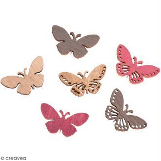 Miniatures en bois - 3 couleurs - Papillons dentelle - 2,5 x 1,2 cm - 24 pcs
