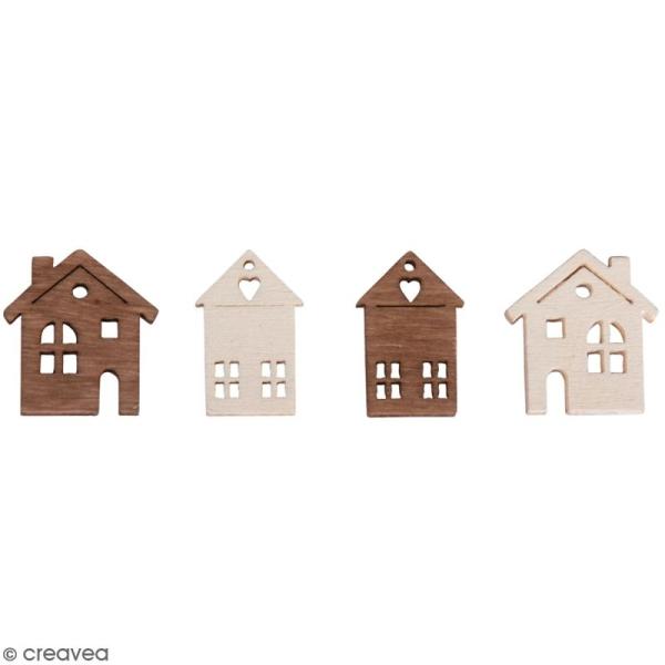 Miniatures en bois - 2 couleurs - Maisons - 1,2 à 1,7 cm - 24 pcs - Photo n°1