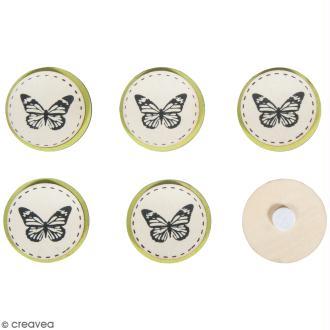Miniatures en bois à coller - Disques Papillon - 3,5 cm - 6 pcs