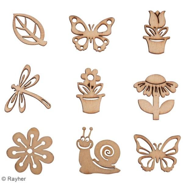 Assortiment mini silhouettes en bois - Printemps - 3 cm - 36 pcs - Photo n°2