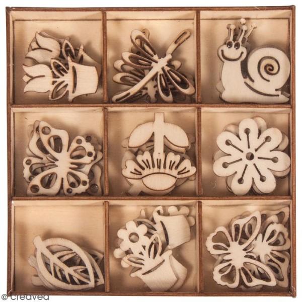 Assortiment mini silhouettes en bois - Printemps - 3 cm - 36 pcs - Photo n°1