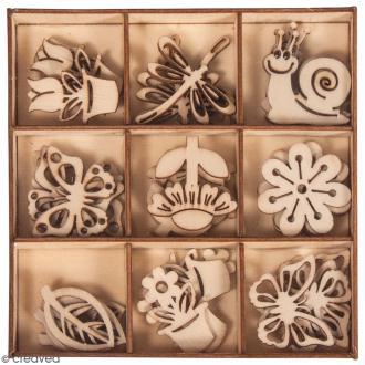 Assortiment mini silhouettes en bois - Printemps - 3 cm - 36 pcs