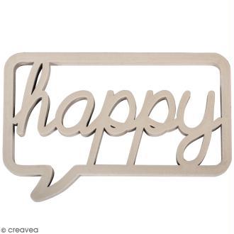 Mot décoratif en bois - Bulle Happy - 10 x 7 cm