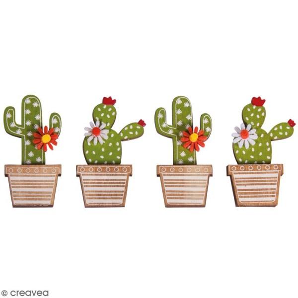 Miniatures en bois à coller - Cactus - 6,5 cm - 4 pcs - Photo n°1