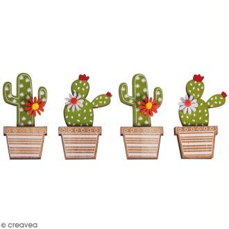 Miniatures en bois à coller - Cactus - 6,5 cm - 4 pcs