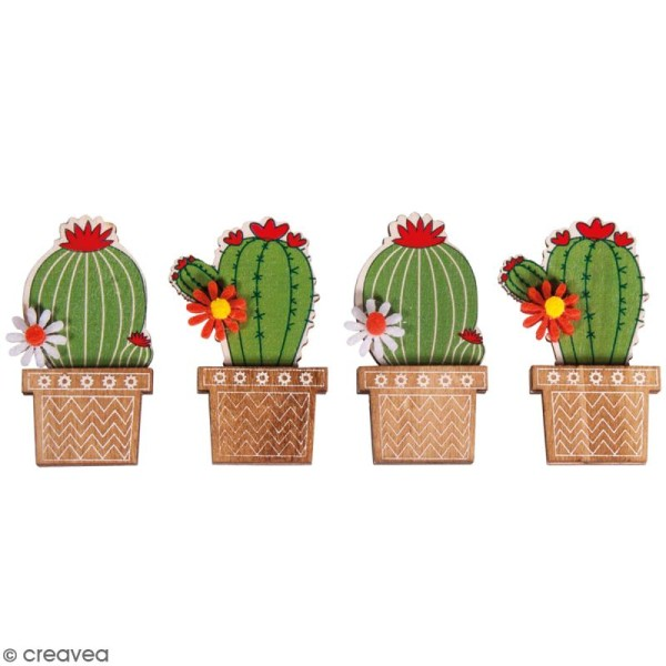 Miniatures en bois à coller - Cactus ronds - 6,5 cm - 4 pcs - Photo n°1