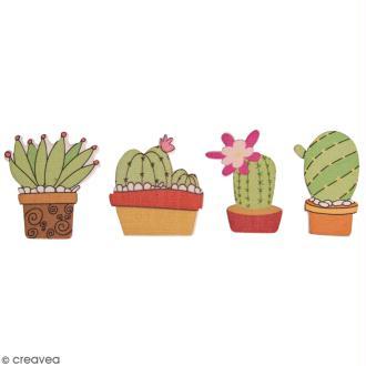 Miniatures colorées à coller - Cactus fleuris - 3,5 cm - 12 pcs