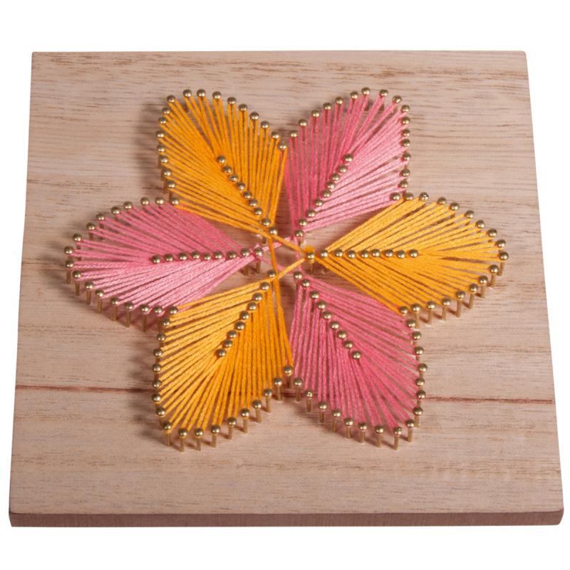 Kit tableau string art à clouer - Fleur - 14 x 14 cm - Photo n°2