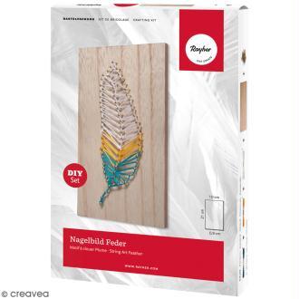 Kit tableau string art à clouer - Plume - 21 x 10 cm