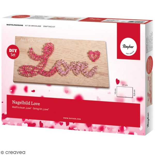 Kit tableau string art à clouer - Love - 21 x 10 cm - Photo n°1