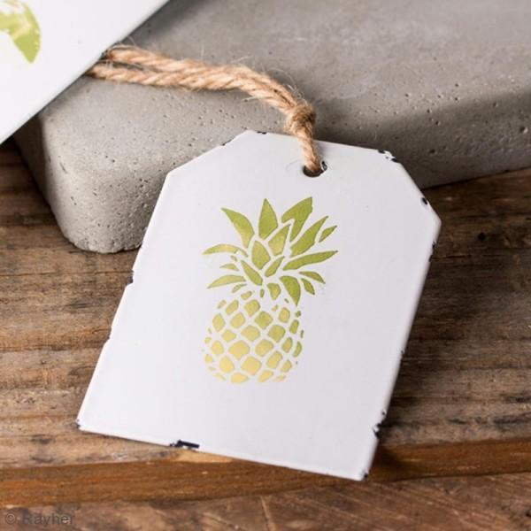 Mini plaques vintage en métal blanc à décorer - 4,5 x 6,5 cm - 3 pcs - Photo n°2