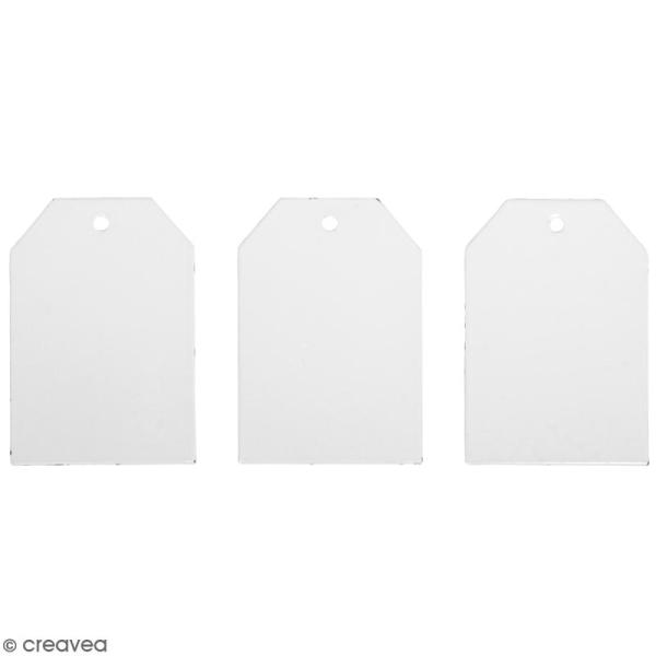 Mini plaques vintage en métal blanc à décorer - 4,5 x 6,5 cm - 3 pcs - Photo n°1