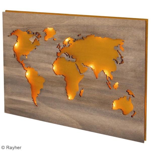 Mappemonde en bois à décorer - 42 x 29,7 cm - Photo n°3
