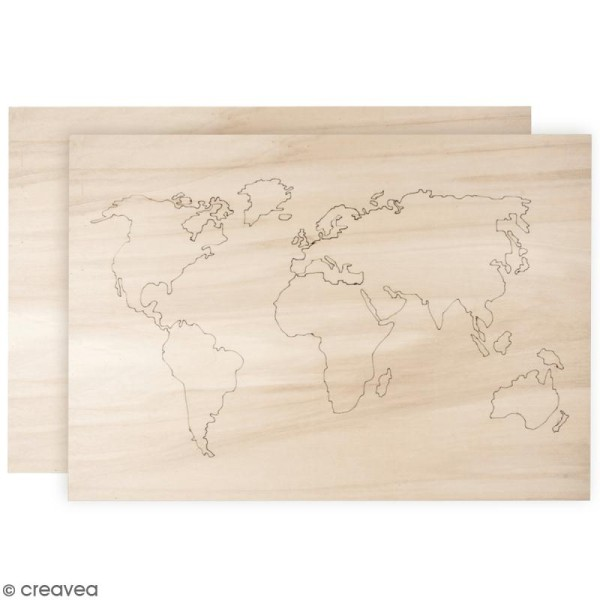 Mappemonde en bois à décorer - 42 x 29,7 cm - Photo n°1