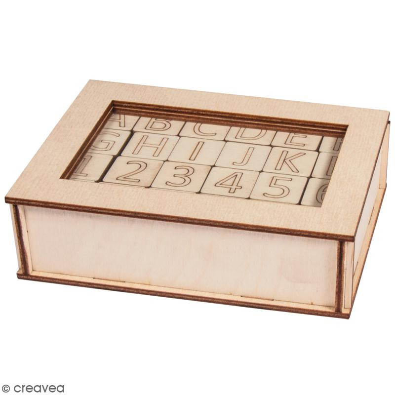 lettres et chiffres en bois d corer rayher 2 x 2 cm 120 pcs stickers alphabet creavea. Black Bedroom Furniture Sets. Home Design Ideas