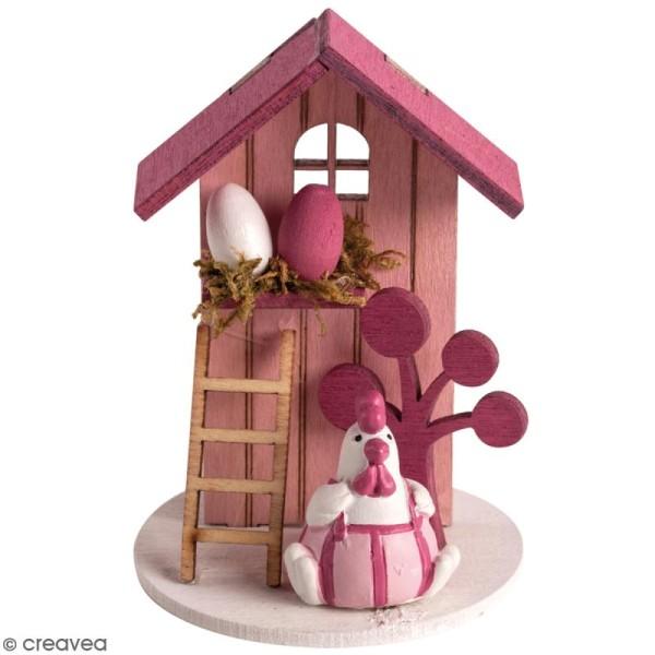 Mini Décor 3D sur socle à monter - Poule de Pâques rose - 8 pcs - Photo n°1