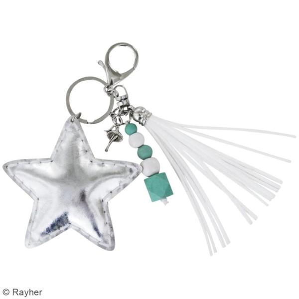 Kit porte-clé à coudre soi-même - Etoile - Argenté, turquoise, blanc - Photo n°2