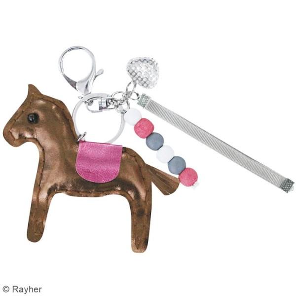 Kit porte-clé à coudre soi-même - Cheval - Cuivré, rose, gris, blanc - Photo n°2