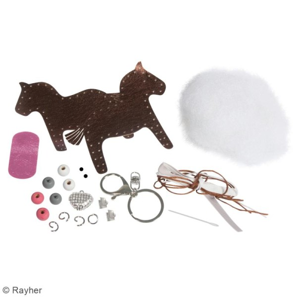 Kit porte-clé à coudre soi-même - Cheval - Cuivré, rose, gris, blanc - Photo n°3