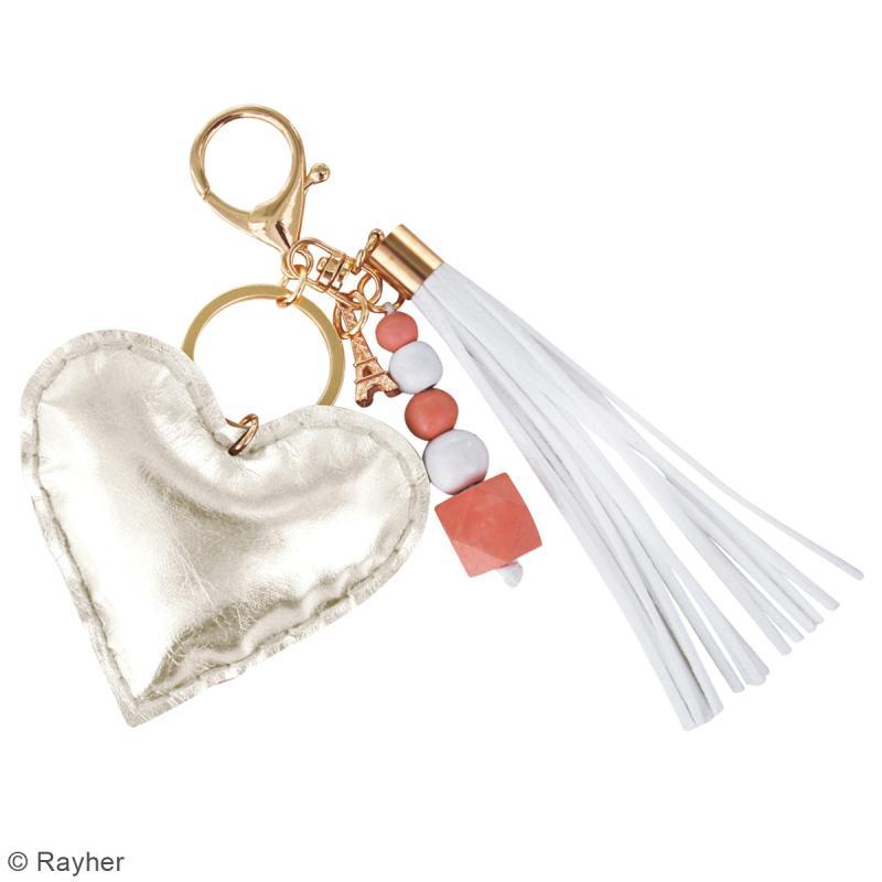 Kit porte-clé à coudre soi-même - Coeur - Doré, rose, blanc - Photo n°2