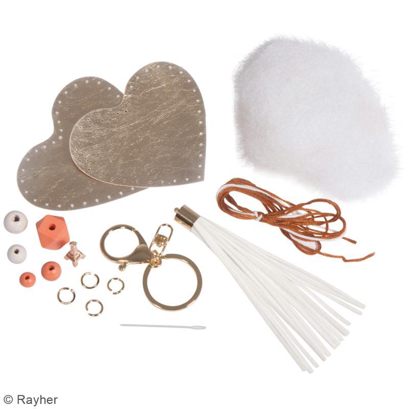 Kit porte-clé à coudre soi-même - Coeur - Doré, rose, blanc - Photo n°3