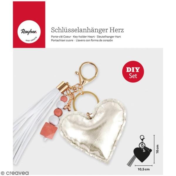 Kit porte-clé à coudre soi-même - Coeur - Doré, rose, blanc - Photo n°1