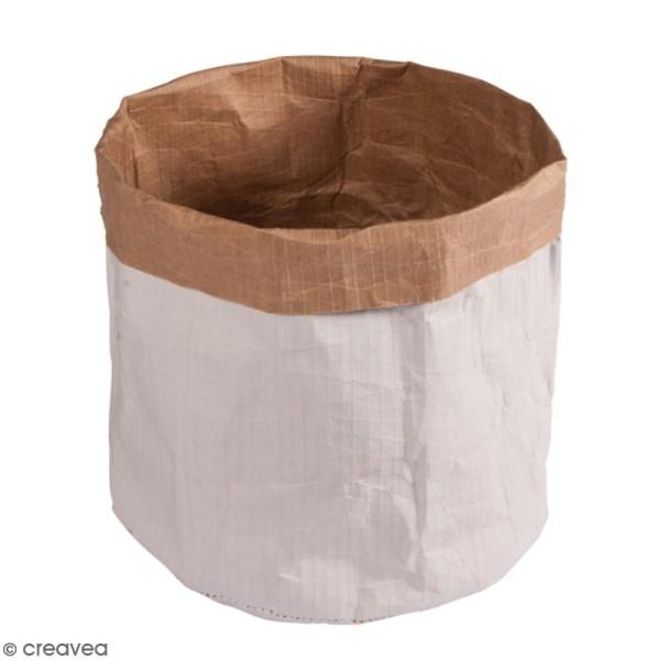 Sac en papier rond - Blanc et Kraft - 35 cm - 1 pce - Photo n°1