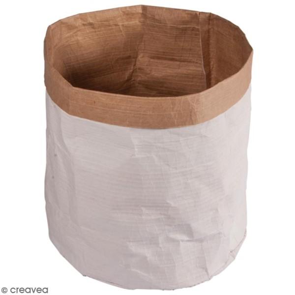 Sac en papier rond - Blanc et Kraft - 40 cm - 1 pce - Photo n°1