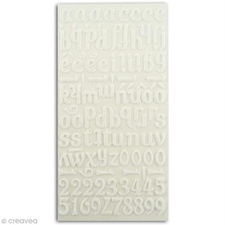 Alphabet autocollant Blanc en feutrine x 106 - Photo n°1