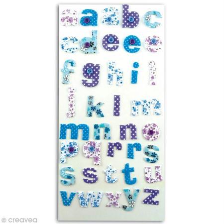 Alphabet autocollant Mauve et bleu en tissu x 38 - Photo n°1