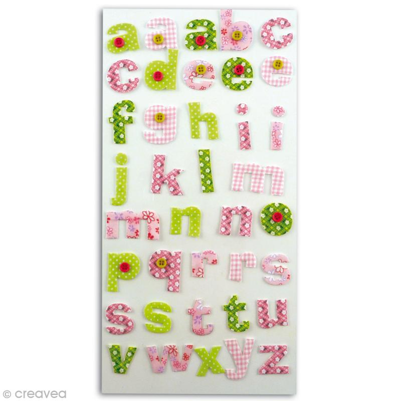 Alphabet autocollant Rose et vert en tissu x 38 - Photo n°1