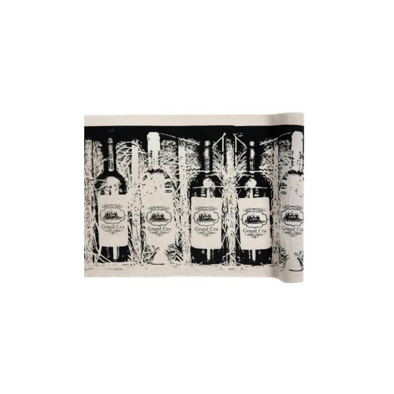 Chemin de table bouteilles de vin coton 3 m chemin de for Set de table coton