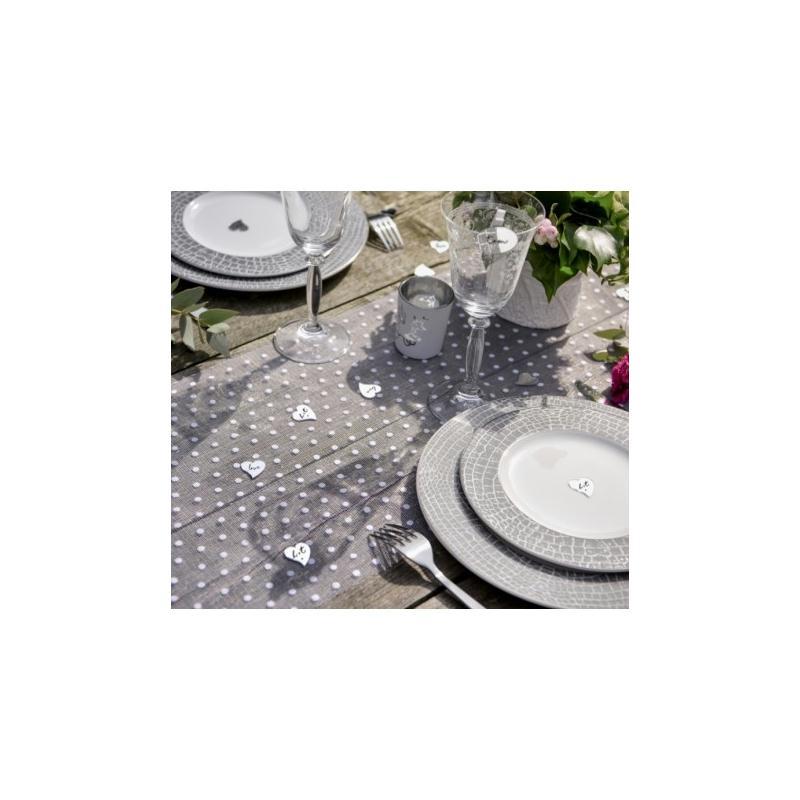 Chemin de table tulle blanc pois 5 m chemin de table for Chemin de table a pois
