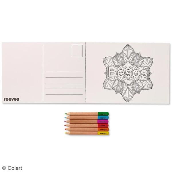 Set Cartes à colorier et crayons de couleurs - Mandalas à messages -26 pcs - Photo n°2