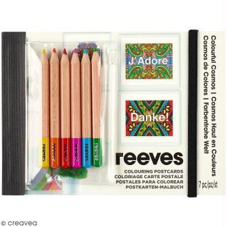Set Cartes à colorier et crayons de couleurs - Mandalas à messages -26 pcs