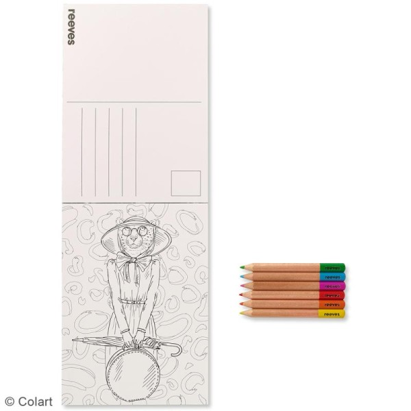 Set Cartes à Colorier Et Crayons De Couleurs Personnages à Tête Danimaux 26 Pcs