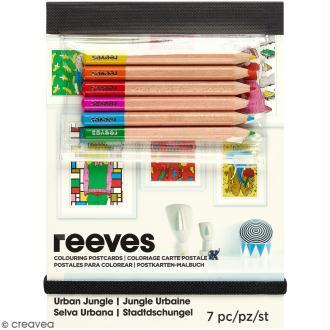 Set Cartes à colorier et crayons de couleurs - Personnages à tête d'animaux -26 pcs