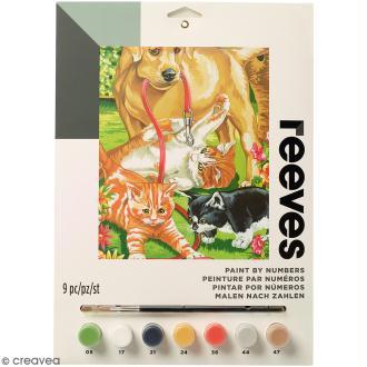 Peinture au numéro Junior Reeves - Chien et chat - 23 x 30,5 cm - 9 pcs