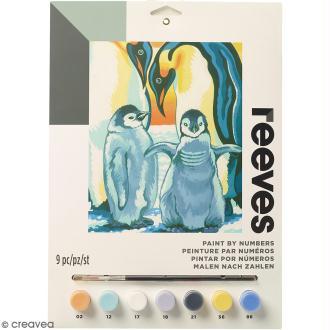 Peinture au numéro Junior Reeves - Pingouins - 23 x 30,5 cm - 9 pcs