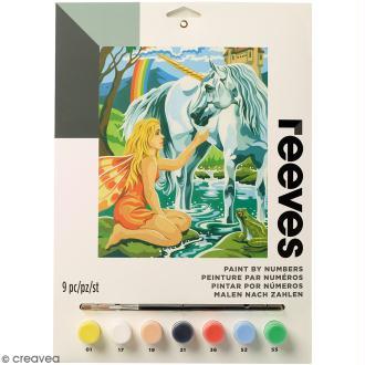 Peinture au numéro Junior Reeves - Licorne et fée - 23 x 30,5 cm - 9 pcs