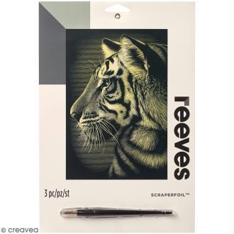 Carte à gratter Junior Reeves Dorée Tigre - 26 x 21 cm